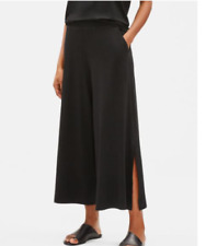 EILEEN FISHER Black Tencel Stretch Jersey Wide Leg Slit Cropped Pants Small NEW
