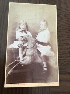 CDV  CHILDREN ON ROCKING HORSE by WILLIAM COBB  1860-70 CDV PHOTO 7/10