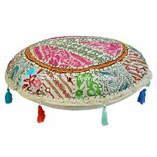 Indian Decor Round Fabric Floor Cushion Cover Pouffe Embroidered Home Pillows