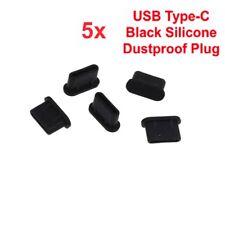 5x USB TYPE-C ANTI DUST BLACK SILICONE PLUG STOPPER CAP UNIVERSAL PHONE TABLET