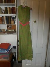 Vtg Green & Pink Long Dress With Open Back