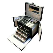 Rainberglarge Jewlery Organiser Box|pu Black Leather 3tier With Storage Section
