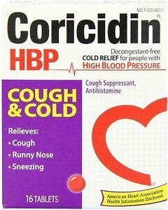 Coricidin HBP Cough & Cold Tablets Cough Suppressant Antihistamine 16 Ct (12PK)