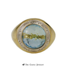 Greek Key Design in 18K Yg Interchangeable Fantasy Cut Gemstone Sphere Ring w/