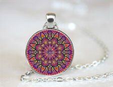 Vintage Mandala Flower Art Dome Tibetan silver Glass Chain Pendant Necklace