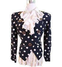 Made in Italy Women's Vtg Navy Dolls Polka Dots Slim Fit Jacket Blazer sz S C155