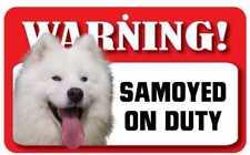 Samoyed Sign - Laminated Card -  Beware Of Dog 20cm x 12cm