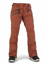 2016 NWT WOMEN VOLCOM SAINT INSULATED SNOWBOARD PANTS $210 S burnt sienna slim
