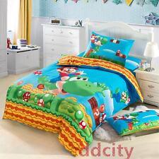 Super Mario Bros Bedding Set Flat Sheet Duvet Cover Pillow Case 3pcs Twin Size