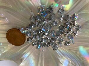 Silberfolien Perlen Glasperlen Blume grau 24mm 5 Stück SERAJOSY
