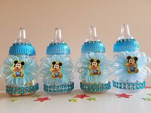 Mickey Mouse   Set of 12 Bottles Favors   Baby Shower Decorations   It's a boy