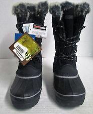 KHOMBU Women's North Star Waterproof  Winter Boots Snow Shoes Black Size-7