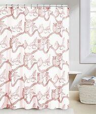 Cranberry Red Owl Bird Nature Print Fabric Shower Curtain