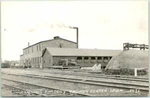 """1940s GRUNDY CENTER, Iowa RPPC Real Photo Postcard """"CANNING FACTORY"""" RR Tracks"""
