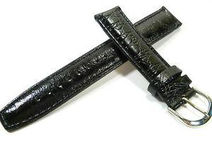 18 MM Noir Bracelet Montre Empreinte Croco Bracelet de Montre Cuir 1801