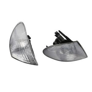 Front Turn Signal Light White Lens LH + RH Set For BMW 98-01 E46 325i 328i 330i