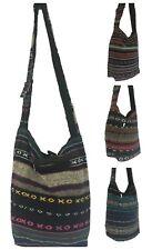 Aztec Hippy Pocket Cotton Shoulder Bag Stripe Hand Made Boho Colourful Handbag
