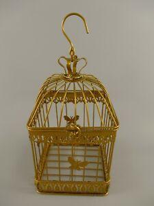 9977648 Metal Bird Cage Vintage Gold Rustic H25cm