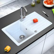 BERGSTROEM Évier de cuisine en granit encastré réversible 765x460 blanc