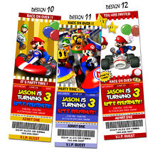SUPER MARIO BROS BIRTHDAY PARTY INVITATION TICKET BROTHERS KART 1ST -C11