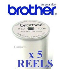 BROTHER EMBROIDERY BOBBIN THREAD x 5 REELS WHITE 1100M 60 weight NEW IN BOX