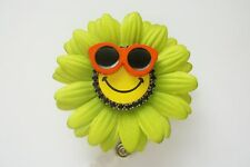 GERBERA GREEN DAISY FLOWER NURSE RN MEDICAL TEACHER STUDENT ID BADGE HOLDER