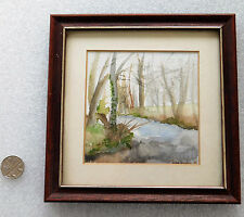 """Water colour painting Diana Campbell 1988 landscape framed 1980s picture 5.5"""""""