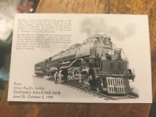 Chicago Railroad Fair  Union Pacific Exibit 1949 Postcard  Un-posted