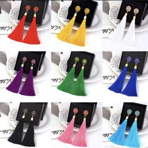 1X Pair Boho Tassel Earrings Geometric Flower Design Jewellery Ear Ring - No Box