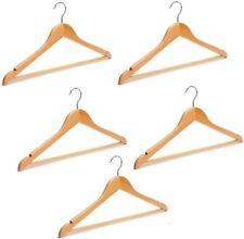 5 Wooden Hangers Varnished Coat Hanger Trouser Hanger Skirt Hanger 5 Pack