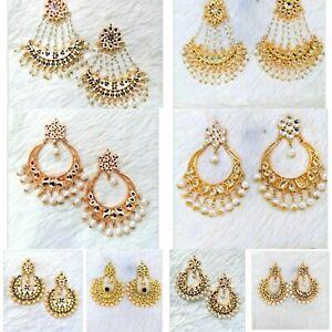 Designer Chandbali Gold Plated Minakari Both Sided Kundan Earrings Jewellery