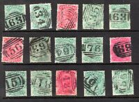 Tasmania numeral cancel selection on QV sideface stamps x 15