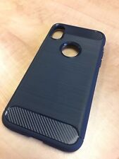 iPhone X Ultra Slim Silicone TPU Carbon Fiber Case Navy Blue
