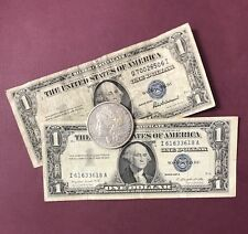 1935 AND 1957 Silver Certificates & (1) 1878-1904 MORGAN 90% SILVER $1. In VG +