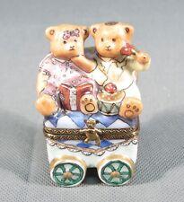 Limoges France Original Trinket Box.Teddy Bears Toys Stroller