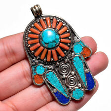 Turquoise Coral Lapis Gemstone Pendant, Tibetan Silver Handcrafted Jewelry TP240