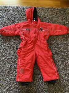 KIDS OKCo SNOW SUIT Sz2 Red Warm Waterproof Hood Ski