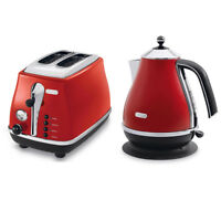Delonghi KBO2001R CTO2003R Icona Vintage Kettle & Toaster PACK - Red