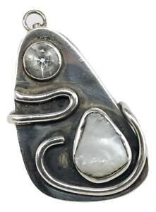 Mid Century Constructivism Sterling Silver Pearl Clear Quartz Brooch Pendant Pin