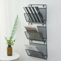 Wall Mount Metal Basket Magazine Newspaper Rack Orgainzer Holder Black