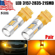 Pair 3157 3156 1300 Lumens 50W Amber/Yellow Turn Signal High Power LED Light ~