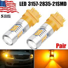 Pair 3157 3156 1300 Lumens 50W Amber/Yellow Turn Signal High Power LED Light