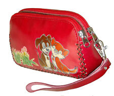 Leather Wristlet Wallet/Change Purse. Dual Zipper & Rooms, Doggy & Kitty, Red
