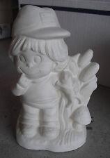 """Vintage Unpainted Ceramic Boy wth Fish Figurine 6"""" Tall"""