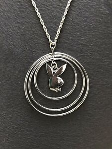 PLAYBOY BUNNY Necklace Rabbit Silver Hoop Pendant Necklace