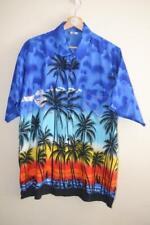 RETRO MULTICOLOUR BEACH PALM TREE PRINT RIMA HAWAII ALOHA HAWAIIAN SHIRT LARGE