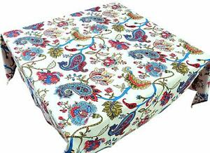 Multicolor Cotton Paisley Print 1Pc Dining Table Cover For 6 Seater,60 X 90 Inch