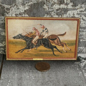 George Schlosser Gallery Miniature Dollhouse Oil Painting Horse Racers