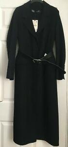 ZARA BLACK LONG HANDMADE WOOL BLEND COAT WITH METAL BUCKLE BELT SIZE S, XL