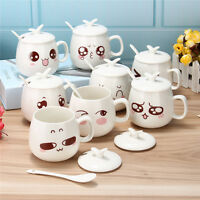 Lovely Tea Coffee Milk Cup Ceramic Travel Cup Pottery Water Mug Cup with Spoon